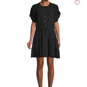Rebecca Minkoff Tie-Front Mini Dress Black Size M